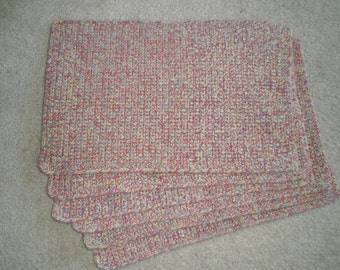 Multicolored crochet set of 6 placemats 17.5 in/11.5 in.