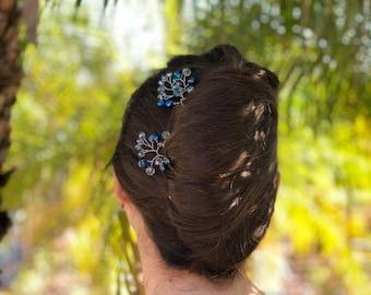 Silver Hair Pins, Crystal Hair Accessories, Bridesmaid Hair Pieces, Something Blue Bridal, Wedding Hair Jewelry, Silver Hair Accessory