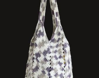 White and grey crochet beach bag, Crochet bag, Crochet market bag, Boho bag, Summer bag, Handmade shoulder bag, striped crochet bag