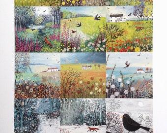 A patchwork style print of seasonal English landscapes by Jo Grundy