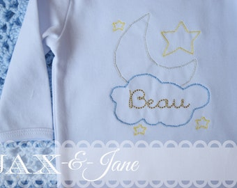 Moon and Stars Vintage Embroidery Design