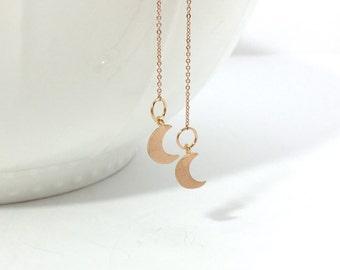 Rose Gold Moon Thread Earrings, Gold Moon Threader Earrings, Silver Moon Dangle Earrings,  Moon Chain Earrings, Wedding Jewelry