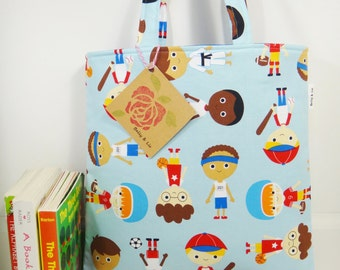 Sport Boy Tote Bag, Mini Tote Bag, Boys Bag, Toddler Tote Bag, Boys Tote Bag, Sport Tote Bag, Kids Tote Bag