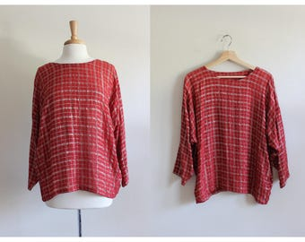 Vintage Red Metallic Threads Slouchy Top