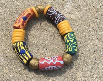 Multicolored Joy Ring Bracelet- With Bronze  Charms/Tribal Ghana Beads, Men's Bracelet, Men's Gift Bracelet, Traditional African Bracelet