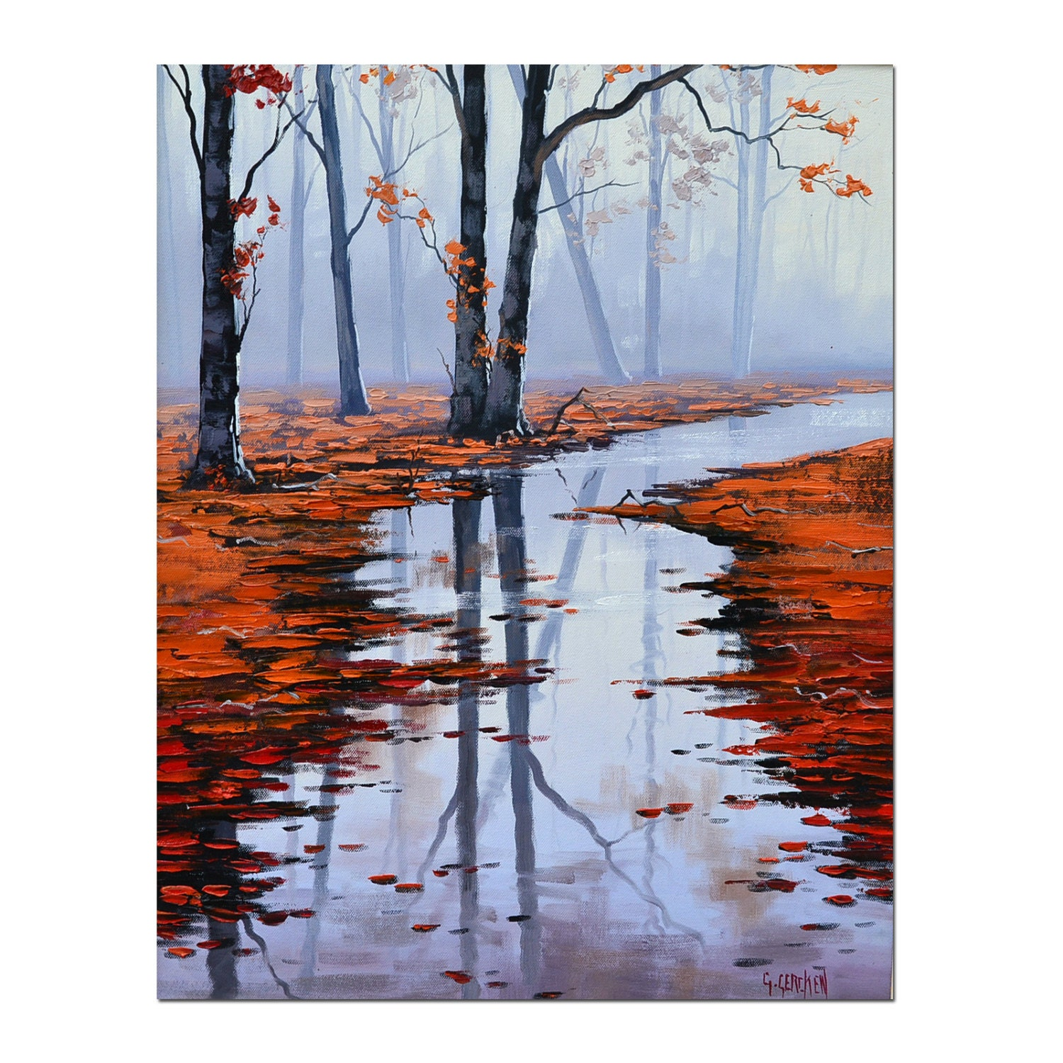20 x 16 AUTUMN PAINTING vertical landscape red brown leaves