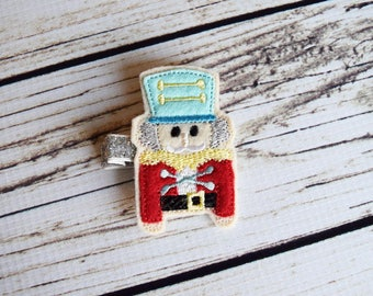 Handcrafted Christmas Nutcracker Feltie Clip - Small Hair Clip - Christmas Stocking Stuffer - Aqua Red Silver Yellow - Fancy Baby Hair Bows