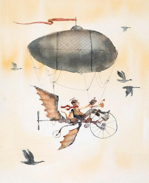 Flying Bicycle Art Print Flying Bike Print Bicycle