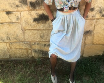 1970s High-Waisted Skirt with Pockets