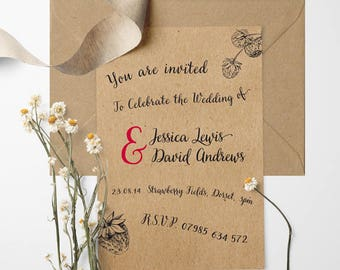 Strawberry Fields Wedding Invitation