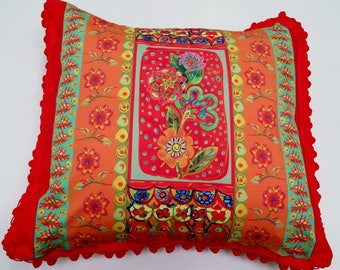 Scatter Cushion Mexican Flower Pom Pom