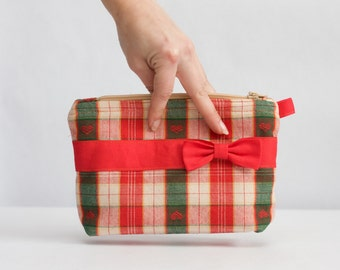 Plaid Cosmetic Zipper Pouch, Red, Cream and Green Bag Cream Line, Ribbon Makeup Organizer Bag, Valentine's Day gift