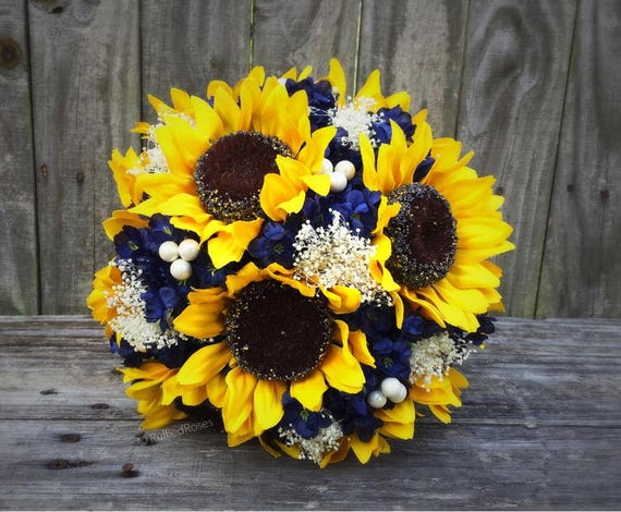 Sunflower bouquet navy sunflower bouquet bridal bouquet junglespirit Images