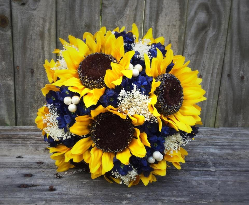 Sunflower bouquet navy sunflower bouquet bridal bouquet zoom junglespirit Image collections