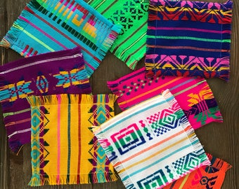 Mexican cocktail napkins, Set of 6. Assorted colors, Fiesta decor, Mexican fiesta supplies, boho chic linens, hippie decor, Gifts under 15