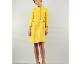 Vintage 60's fashion / FABIANI / Yellow plaid and orange 2 piece ready to wear Mod suit completely reversible XS