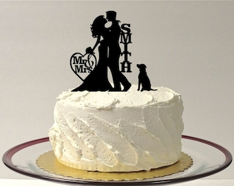 MADE In USA, Silhouette Wedding Cake Topper with Dog, Wedding Cake Topper Bride and Groom & Dog, Cake Topper, Silhouette Wedding Decoration,