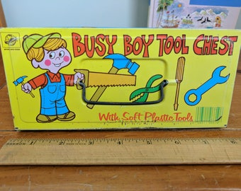 Ohio Art Busy Boy Tool Chest Metal Box, 8x3.75x1.5 Inches