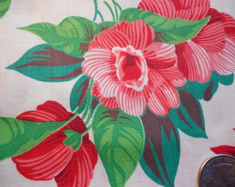 Vintage 1940's, 50's Reds, Pink and Greens Floral Cotton Fabric, 3 yards