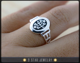 NEW! Sterling Silver Baha'i Ringstone Symbol Ring - Sizes 5 to 9.5 - BRS8
