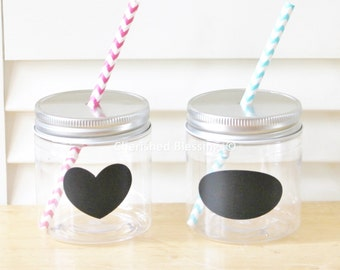 Plastic Mason Jars, 10 Mason Jars With Straw Lids, Wedding Favors, Baby Shower Faovrs, Kids Party Cups, 8oz Mason Jars Wedding Table Setting