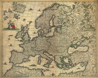 MP50 Vintage 1700's Historical Antique Old Map Of Europe Poster Re-Print Wall Decor A1/A2/A3