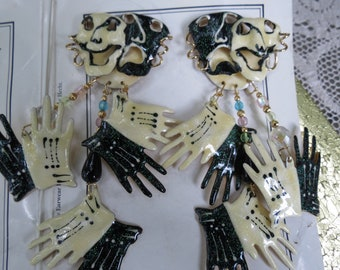 1988 Lunch at the Ritz Pieced Earrings - Comedy & Tragedy Theater Masks