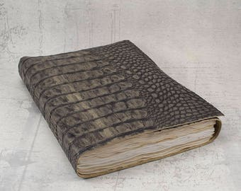 Black gold leather journal, hand stained pages, crocodile embossed leather sketchbook, unique notebook A5, alligator travel journal
