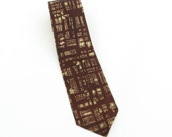 1950's vintage CADES printed acetate neck tie in brown, taupe, and white
