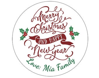 Set Personalized Custom Merry Christmas and happy new year Gift Package Stickers Gold Silver