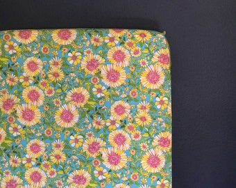 fitted crib sheet funky floral - teal pink yellow Ready 2 Ship