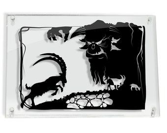 Three Billy Goats Gruff // silhouette hand cut paper craft fairy tale fable framed wall art FRAMED