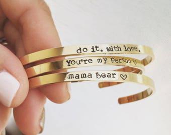 Custom Cuff Bracelet, Mama Bear Bracelet, Compass Coordinates Cuff Bracelet, Personalized Cuff Bracelet, Inspirational Quote Bracelet
