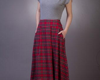 Tartan long skirt with pockets Maxi tartan skirt Long plaid skirt Maxi red plaid skirt with pockets Red tartan skirt Long red skirt