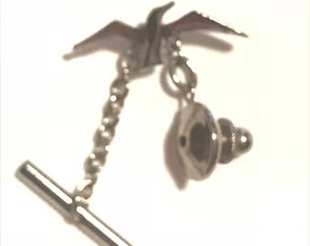 Vintage Silver Bird Figural Tie Tack Gift for Him Tie Accessory