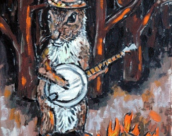 SQUIRREL banjo art PRINT JSCHMETZ pop folk abstract modern 11x14