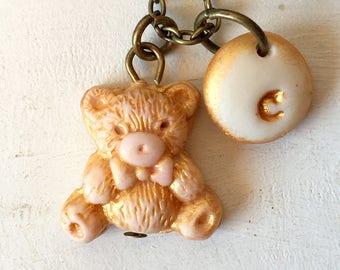 Teddy Bear Necklace, Little Girl Gift, 1,2,3,4,5 years old girl Birthday gift