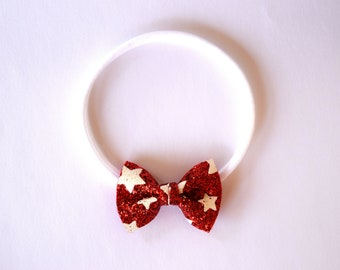 Red Glitter White Star Print Bow Headband ONE size fits All Adorable Photo Prop for Newborn Baby Little Girl Child Adult 4th of July Bow