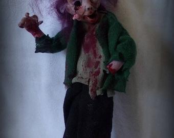 Ooak  kind zombie doll, 1:12 scale,miniature zombie, art doll zombie, dollhouse zombie, polymer clay, handsculpt art doll, artist doll
