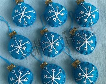 1 Dozen Handmade Felt Mini Snowflake Christmas Bulb Ornaments