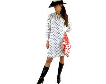 1960s Polka Dot Dress, Shirt Dress, Semi Sheer, Black and White Dress, Vintage Dress, Size Small