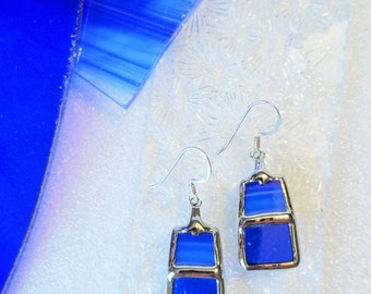 """""""Stained glass"""" blue earrings"""