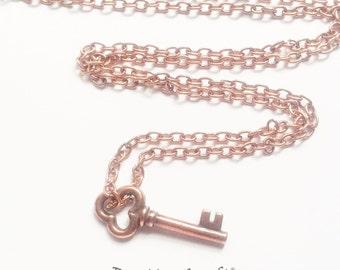 Antiqued Copper Key Necklace -  Copper Key Necklace - Key Charm Necklace - Copper Key Jewelry - Stocking Stuffer