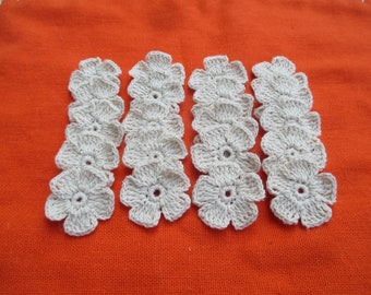 20 Handmade small cotton crochet flower for decorating your craft.