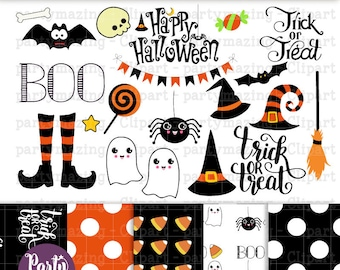 Printable Halloween ClipArt Set, Cute Halloween Instant Download  HOHW1 -D766