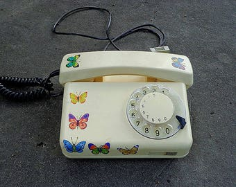 Vintage Poland disc Telephone / stationary telephone / rotary telephone / beige poland made phone / static telephone
