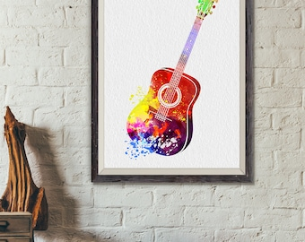 Acoustic Guitar Print, Guitar Watercolor Print, Music Poster, Music, Abstract Music Instrument Poster, Guitar Decor, Guitar Art (A0367)