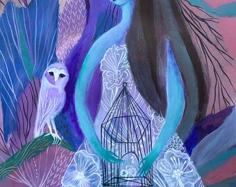 Halloween, halloween art, original painting, blue, ghost, owl, owl painting, halloween decoration, acrylic painting, Sofia Moore