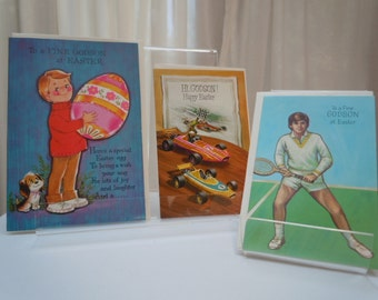 "Vintage  EASTER Cards Set of 3 -for  ""God son"" 1960's New Old Stock Variety Pack Through the Years Set of Three"