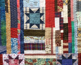 Strip Pieced Patchwork Quilt made from Kimono silks, brocades, vintage calicos, designer samples and patchwork quilts blocks